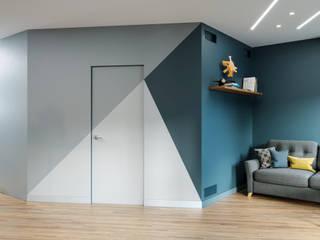 Однокомнатная квартира для молодого человека Гостиная в стиле минимализм от PROROOMS Минимализм