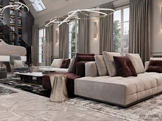 Two-level apartment in Paris │ Part 1: Гостиная в . Автор – Diff.Studio, Эклектичный