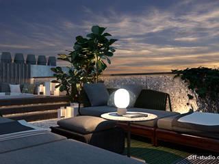 Two-level apartment in Paris │ Part 2: Tерраса в . Автор – Diff.Studio, Минимализм