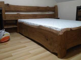 Łóżko dębowe, naturalne: styl , w kategorii  zaprojektowany przez NaLata - Meble Drewniane, Ariel Młotkowski