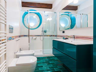 ADIdesign* studio Tropical style bathrooms Ceramic Turquoise
