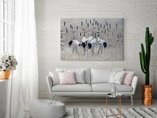 Żurawie nad rozlewiskiem - nowoczesny obraz na płótnie: styl , w kategorii  zaprojektowany przez VAKU-DSGN