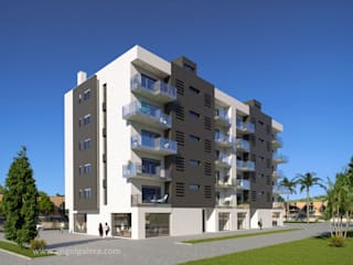 Render 3D. Edificio de viviendas en Murcia. angelgalera. Arquitectura y render
