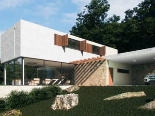 Projeto de Casa de Campo - fachada principal: Casas do campo e fazendas  por CASAGRANDE ARQUITETURA