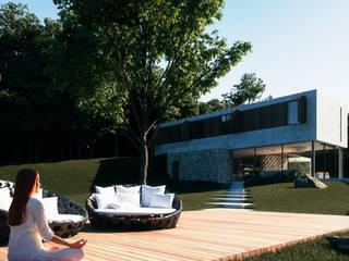 Deck de madeira: Casas do campo e fazendas  por CASAGRANDE ARQUITETURA