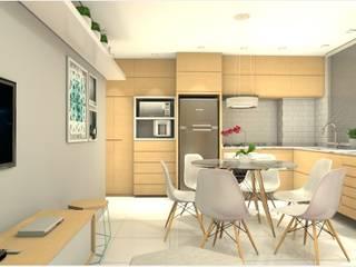 Apartamento AM: Armários e bancadas de cozinha  por Studio Elabora