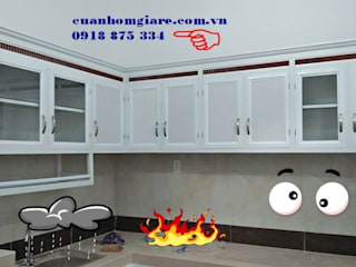 Mẫu tủ bếp nhôm kính sơn tĩnh điện màu trắng sứ đẹp giá rẻ tphcm:   by NHÔM KÍNH TIẾN CƯỜNG