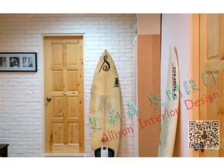淺色木紋+文化石 牆面   北歐風 FU~ 出現了:  走廊 & 玄關 by 艾莉森 空間設計