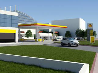 Dündar Design - Mimari Görselleştirme – Akaryakıt İstasyonu:  tarz Dükkânlar