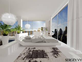Коттедж у Черного моря в Коктебеле: Спальни в . Автор – Студия дизайна Сергея Выборнова