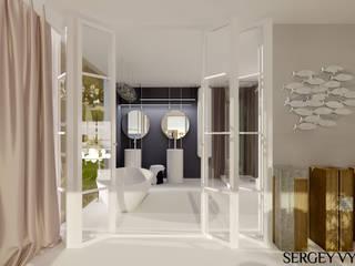 Коттедж у Черного моря в Коктебеле: Ванные комнаты в . Автор – Студия дизайна Сергея Выборнова