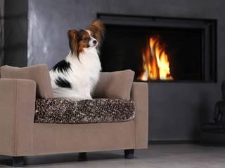 Fauteuil pour chiens Haut de gamme Taupe - Pack Calin - Taille S - Plaid Léopard:  de style  par GIUSYPOP