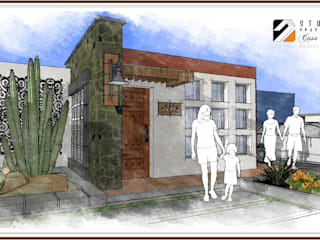 Vista Frontal (acceso peatonal y vehicular): Casas de campo de estilo  por STUDIO2 arquitectos
