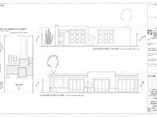 Planta de conjunto y elevaciones principales: Casas de campo de estilo  por STUDIO2 arquitectos
