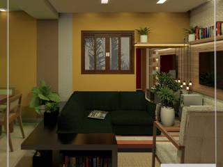 Estar- Jantar e Cozinha integrados: Salas de estar  por Aúra Arqstudio