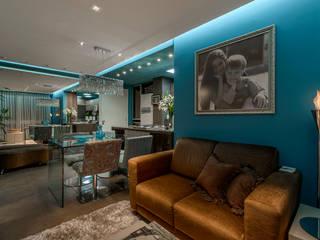 Sala, cozinha e jantar: Salas de estar  por arquiteta aclaene de mello