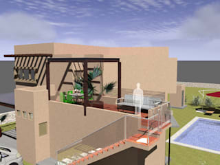 Acceso Casa en Planta Alta (Fachada Principal): Terrazas de estilo  por Arq. Máximo Alvarado Bravo