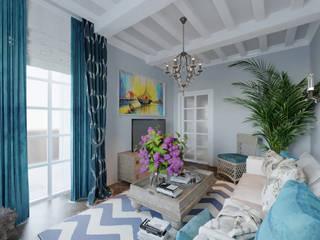 Студия дизайна Натали Хованской Mediterranean style living room