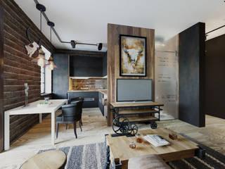 Квартира в г.Сочи Гостиная в стиле лофт от Студия дизайна Натали Хованской Лофт