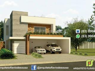 FACHADA: Casas familiares  por ARQUITETO FLÁVIO DE SOUSA