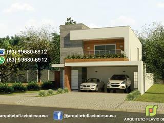 FACHADA : Casas familiares  por ARQUITETO FLÁVIO DE SOUSA
