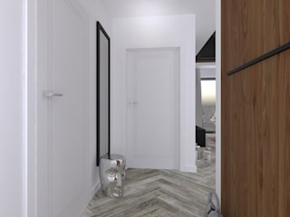 Secret Project - Apartament z widokiem na park a za nim morze: styl , w kategorii Korytarz, przedpokój zaprojektowany przez 4 kąty a stół 5 Pracownia Projektowa Ewelina Białobrzewska