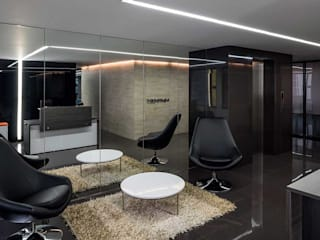 NOAH Proyectos SAS Modern Study Room and Home Office Concrete Black