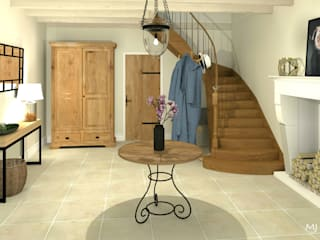 MJ Intérieurs Country style corridor, hallway& stairs
