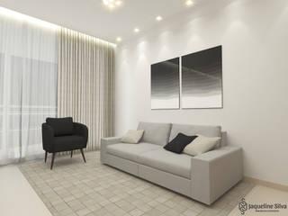 Apartamento FF: Salas de estar  por JAQUELINE SILVA ARQUITETURA E INTERIORES