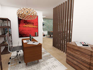 Design and Decoration in an Apartment in Lavra No Place Like Home ® Ruang Studi/Kantor Modern