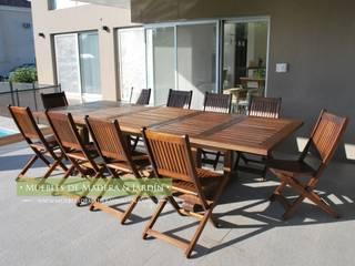 Mesa Fija para Jardin en madera con tratamiento para uso Exterior:  de estilo  por Muebles de Madera y Jardín .COM