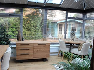 Before and After Conservatory multi functional room project:   by Lear's Creative Interiors
