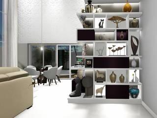 Aproveitando todos os espaços: Salas de estar  por Trivisio Consultoria e Projetos em 3D