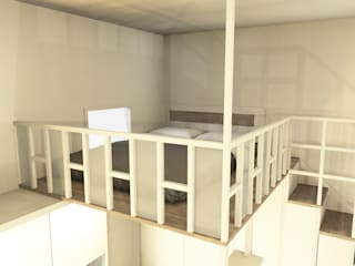 Un monolocale completamente arredato su misura Soggiorno moderno di Falegnamerie Design Moderno