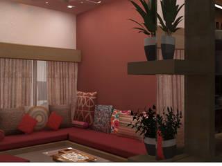 Mr. Shekhar's Residence Interiors:  Living room by Mahajan Architectural Studio