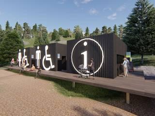 Oficina de turismo y baños públicos: Casas de estilo  por Tila Design