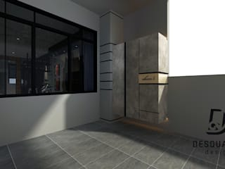 Proposed Interior Design for 2-Storey Terrace House Desquared Design Modern style balcony, porch & terrace