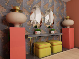 Apartamento no centro de Lisboa Corredores, halls e escadas tropicais por Angelourenzzo - Interior Design Tropical
