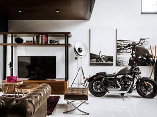 Loft Concord Arquitectos Ejecutivos Salones modernos Concreto Acabado en madera