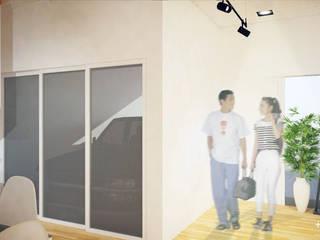 Slice House:  Corridor and hallway by Plus Zero Two Design Studio