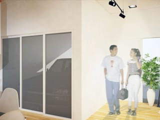 Slice House Minimalist corridor, hallway & stairs by Pluszerotwo Design Studio Minimalist