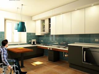 Cucine per Disabili: Il su misura modellato di Falegnamerie Design Cucina moderna di Falegnamerie Design Moderno