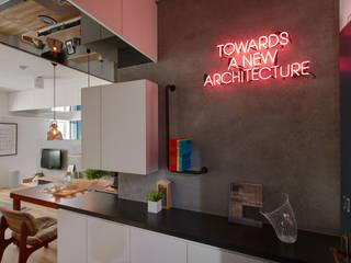 邁向建築 御見設計企業有限公司 工業風的玄關、走廊與階梯