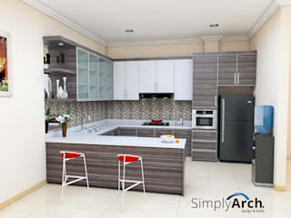 S-House Kitchen Design at Citra Garden 3 Extension, West Jakarta:  oleh Simply Arch.,