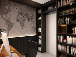 Modern style study/office by Laura Mueller Arquitetura + Interiores Modern Wood Wood effect