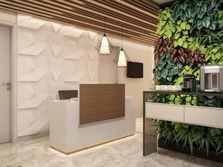 RECEPÇÃO COMERCIAL: Clínicas  por Camila Pimenta | Arquitetura + Interiores