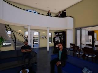 Hall de acceso, puente segundo piso y doble altura: Livings de estilo  por BIM Urbano