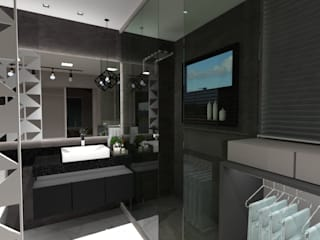 Cláudia Legonde 現代浴室設計點子、靈感&圖片 玻璃 Grey