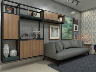 Interior Sala do apartamento:  industrial por AT arquitetos,Industrial