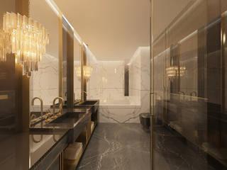 Projekt wnętrza w apartamancie z widokiem na panoramę Warszawy Nowoczesna łazienka od TISSU Architecture Nowoczesny
